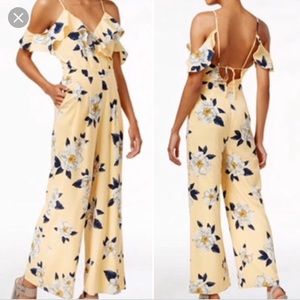 J by JOA yellow floral jumpsuit romper cute 😍